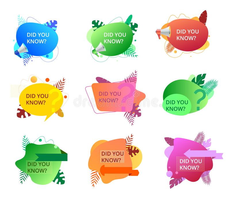 Set of fluid trendy badges with did you know question. stock illustration