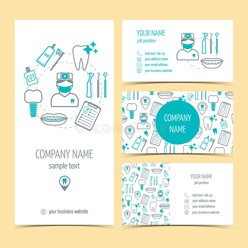 Set of flyer, brochure and business cards for dental clinic. Dental care. Set of promotional products. Flat design. Vector royalty free illustration