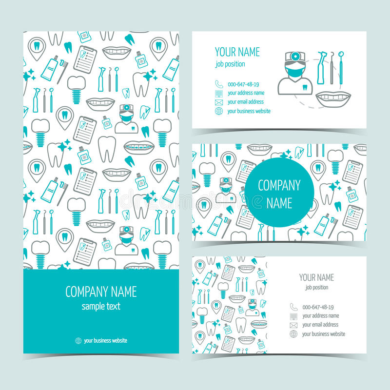 Set of flyer, brochure and business cards for dental clinic. Set of promotional products. Flat design. Vector stock photos