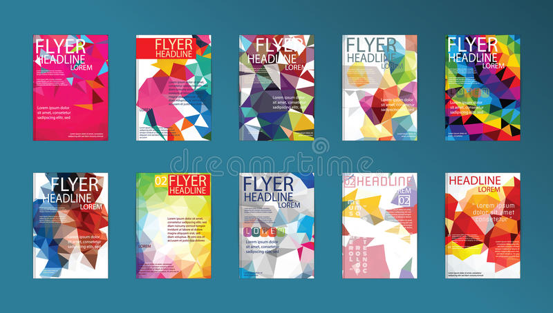 Set of Flyer, Brochure Design Templates Flyers, Posters and Placards. stock illustration
