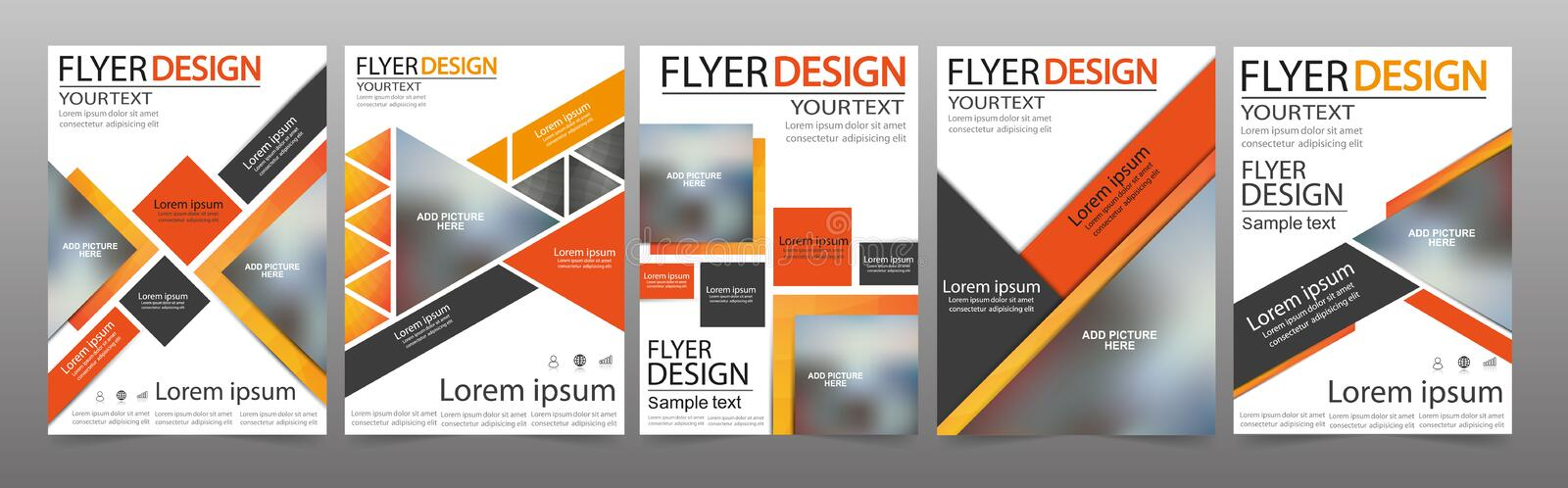 Set of Flyer design. Can be used for magazine cover, business mockup, education, presentation, report. Vector royalty free illustration