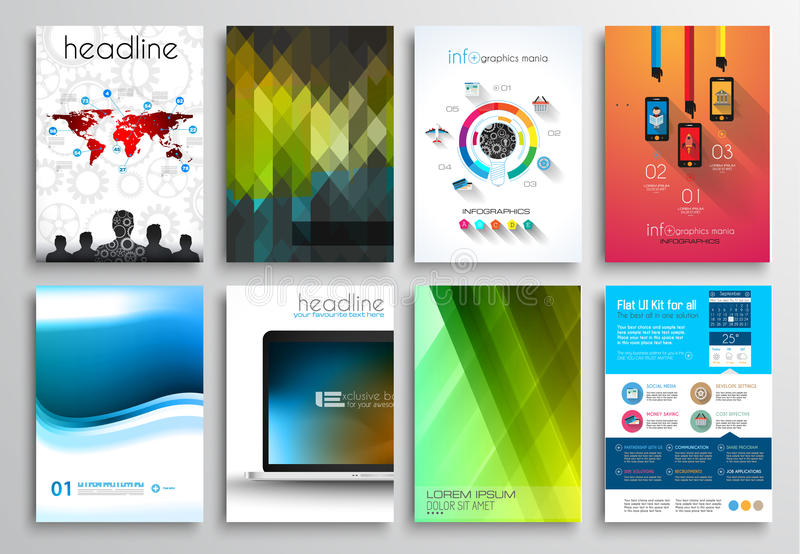 Set of flyer design web templates brochure designs stock for Technology brochure templates