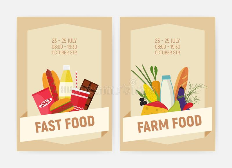 Set of flyer or poster templates for farm and fast food products decorated with fruits, vegetables, snacks, drinks stock illustration