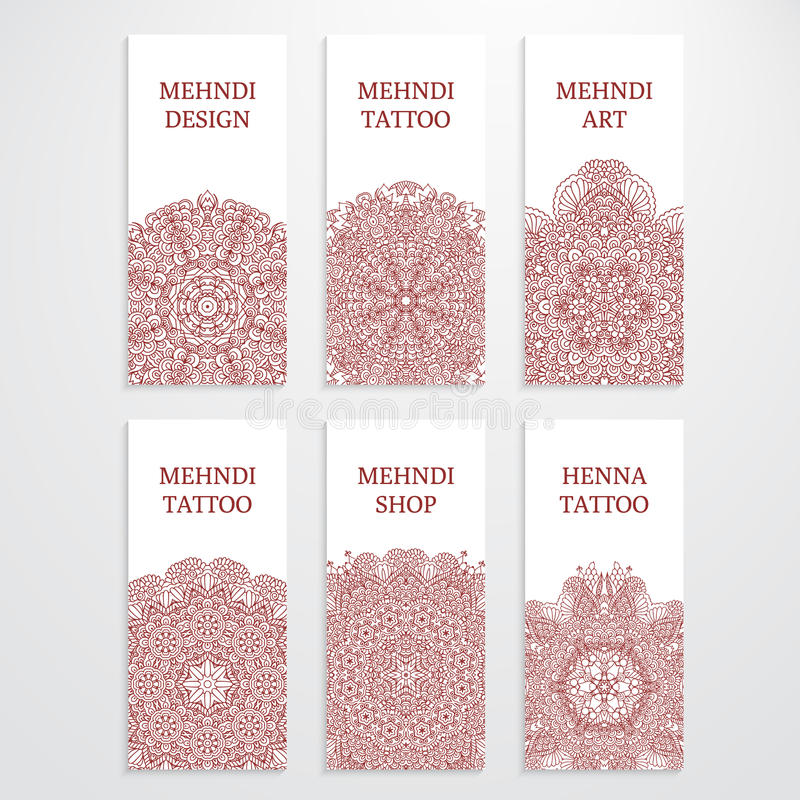 Set Of Flyer Templates Mehndi Design Stock Illustration ...