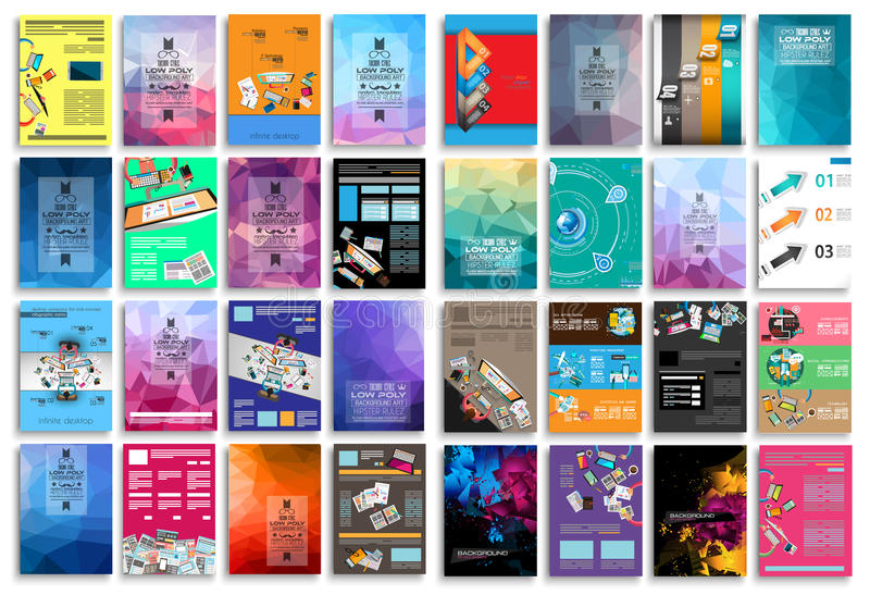 Set of Flyers, background, infographics, low polygon backgrounds stock illustration