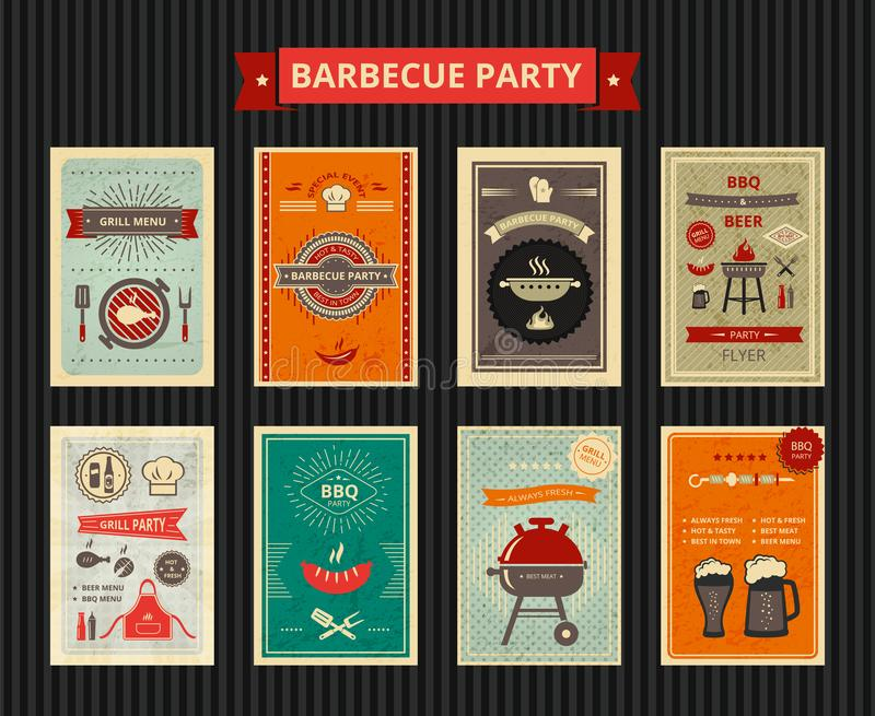 Set of flyers for barbecue party stock illustration