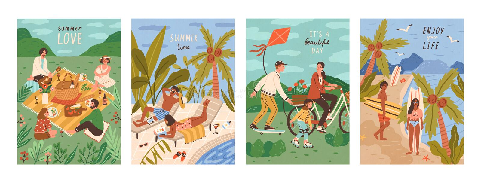 Set of flyers with people performing outdoor leisure activities - friends at picnic, couple sunbathing at swimming pool. Surfers on tropical beach. Summer royalty free illustration