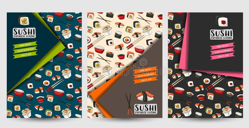 A set of flyers for sushi bar or restaurant. Asian food brochires or menu cover. stock illustration
