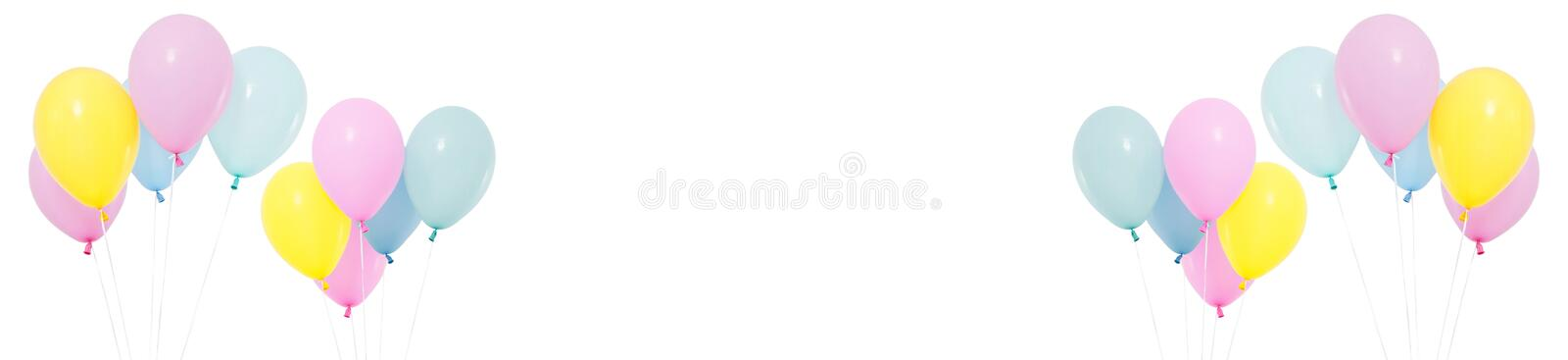 Set flying balloon on white background isolated, holidays and birthday concept royalty free stock photo