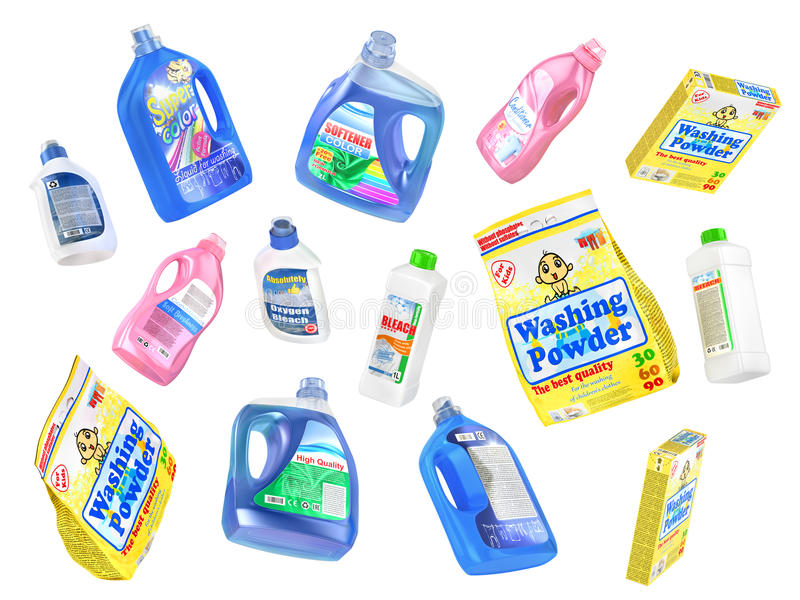 Set of flying detergent bottles stock illustration