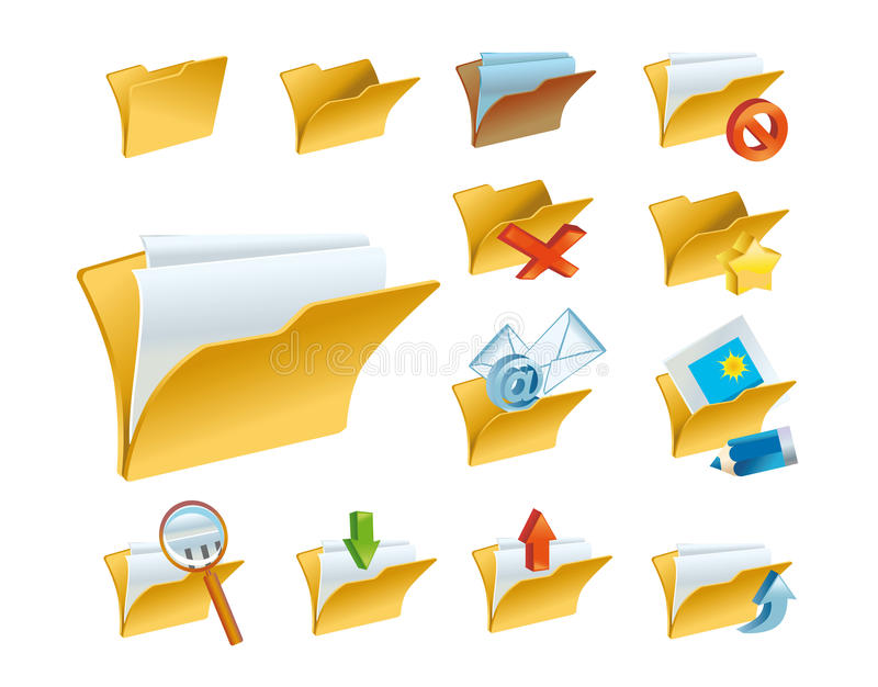 A set of the folder icons royalty free illustration