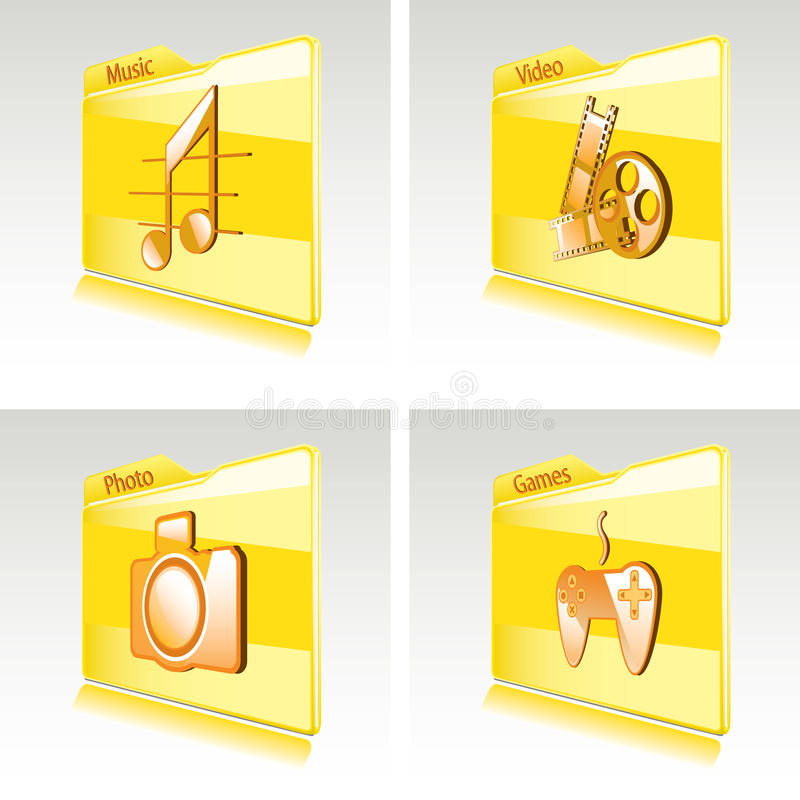 Download Set Of Folders With Abstract Icons For Computer Stock Vector - Image: 24890879