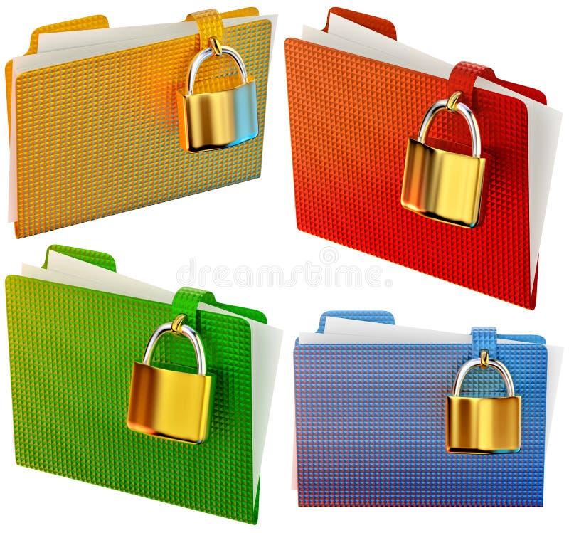 Set of folders with locks royalty free illustration