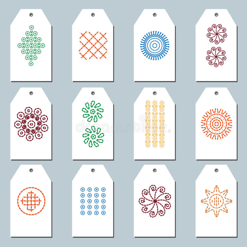 Set of Folk Embroidery Gift Tags stock photos