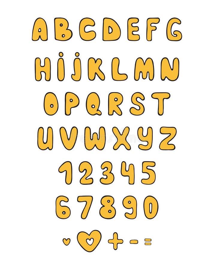 set font doodle  cartoon characters  sketch alphabet
