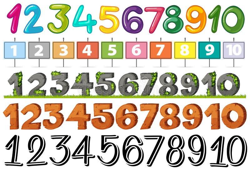 A Set of Font Number. Illustration royalty free illustration