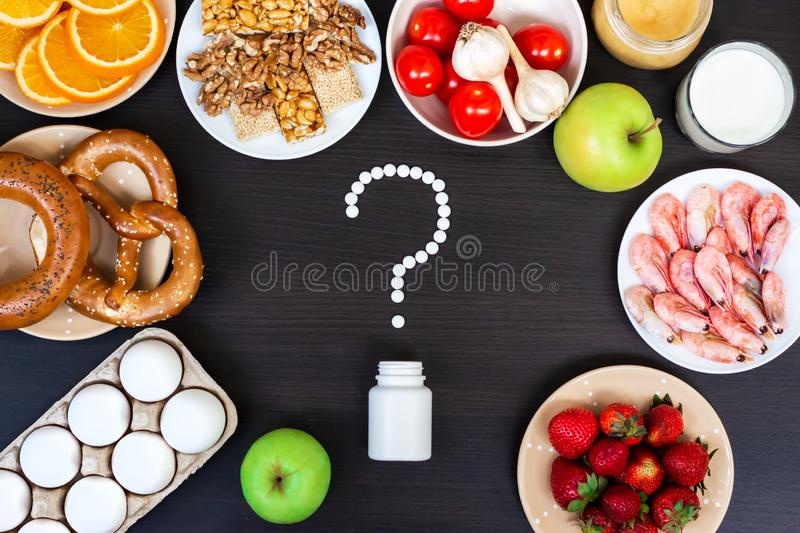 Set of food that cause allergy. Top view. Set of food that cause allergy on wooden table royalty free stock image