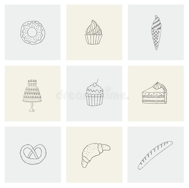 Set with food, desserts, flour for print. Concept collection hand drawn design elements, logos, icons with ice cream, cake, sweets vector illustration