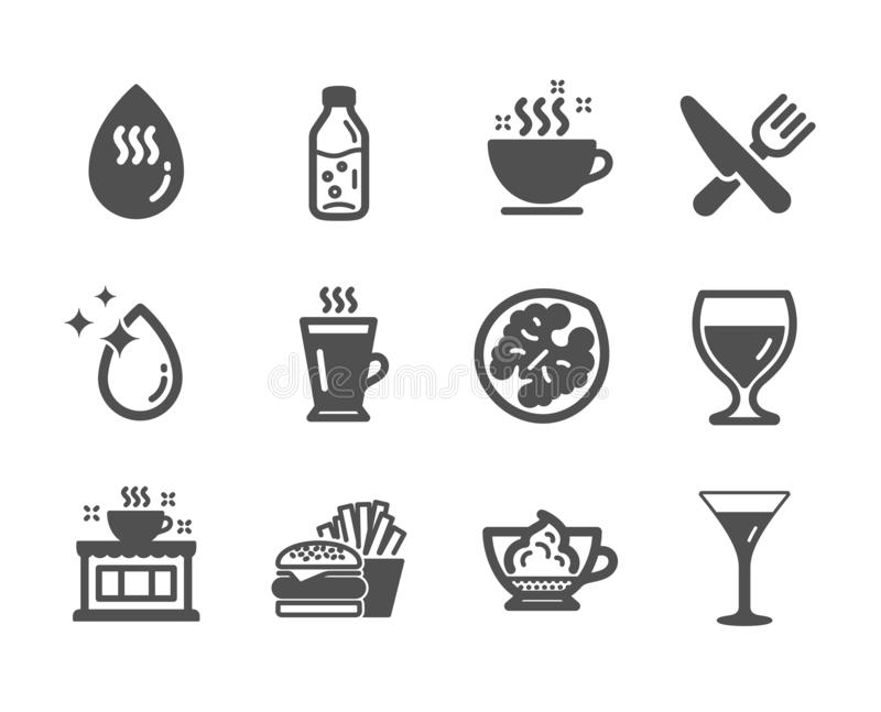Set of Food and drink icons, such as Espresso cream, Food, Water drop 矢量 皇族释放例证