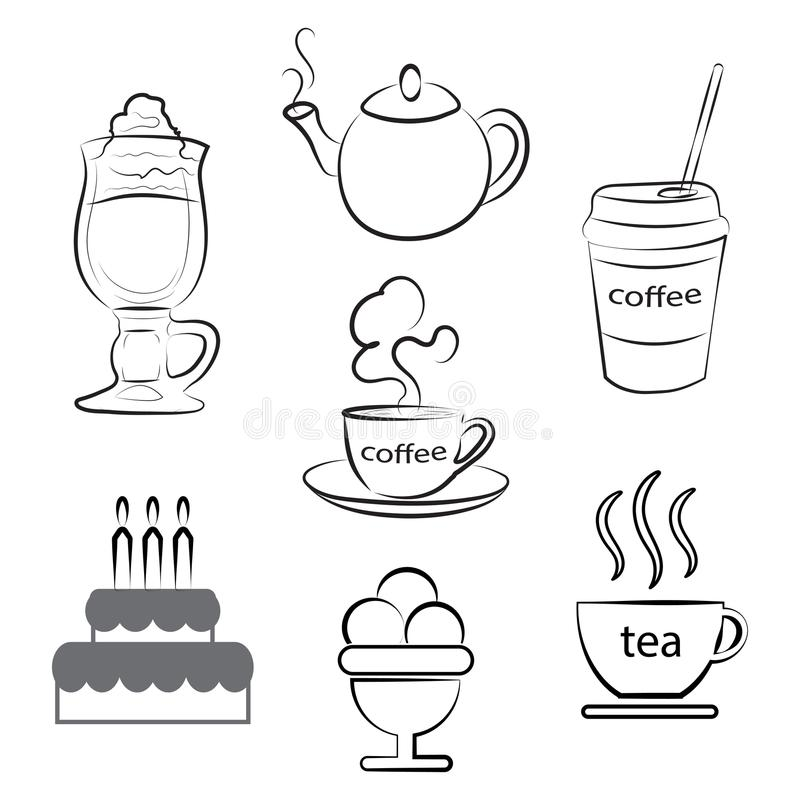 A set of food icons. A cup of hot coffee, tea and dessert. Vector illustration. stock illustration