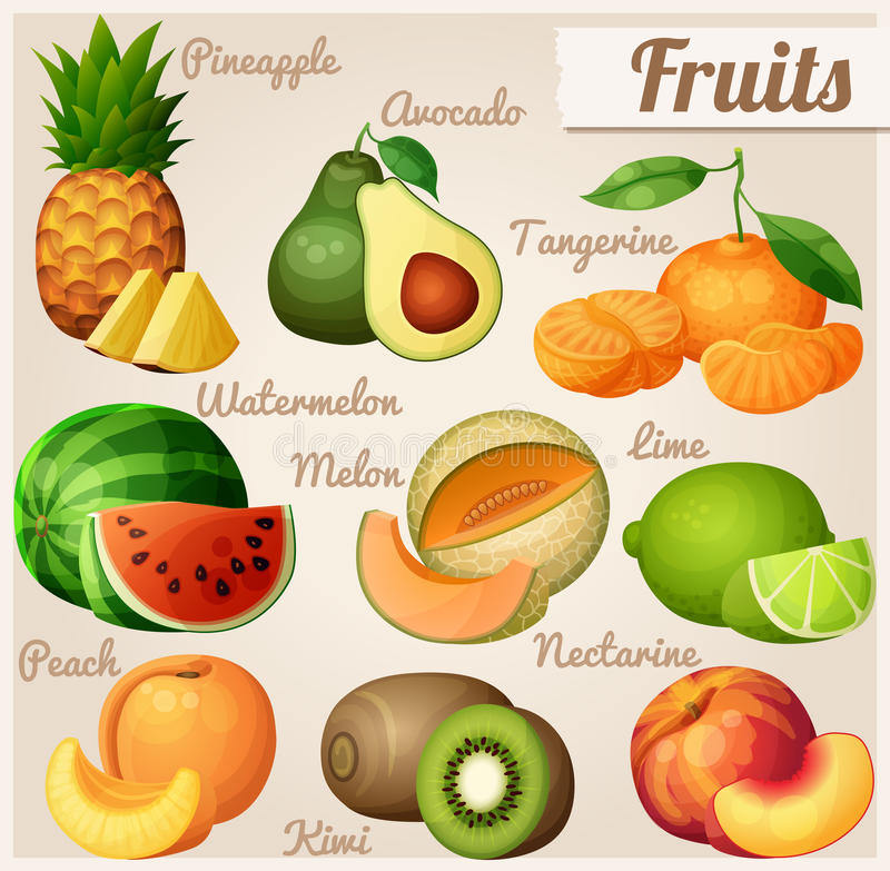 Set of food icons. Fruits. Pineapple ananas , avocado, mandarin tangerine , watermelon, melon cantaloupe , lime, peach. Set of food icons. Fruits. Pineapple royalty free illustration