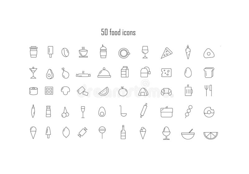 Set of food icons royalty free illustration