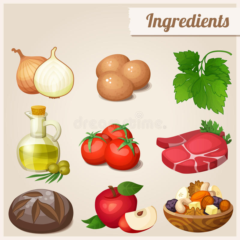 Set of food icons. Ingredients. Loaf of bread, raw eggs, fresh meat, tomatoes olive oil in bottle onions parsley red apple dried fruits and nuts royalty free illustration