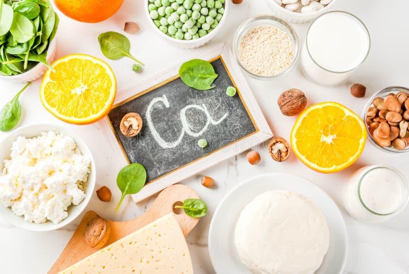Set of food rich in calcium stock photos