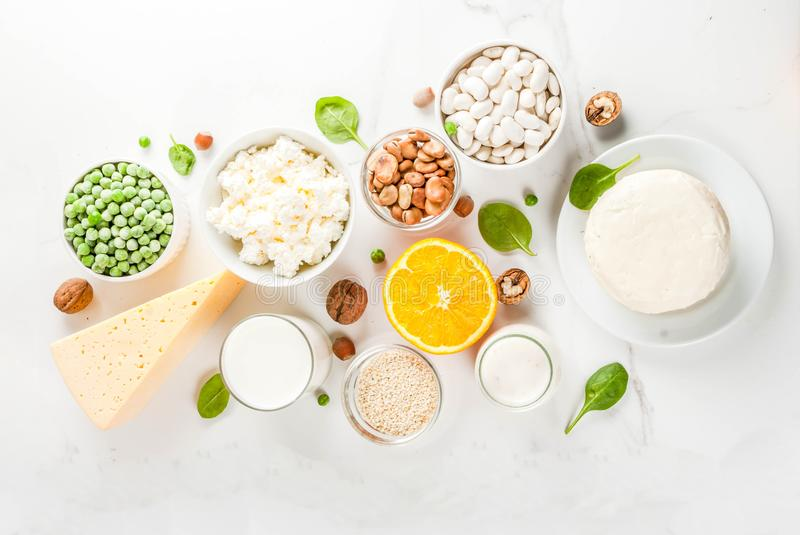 Set of food rich in calcium. Healthy food concept. Set of food rich in calcium - dairy and vegan Ca products, white marble background top view copy space stock image