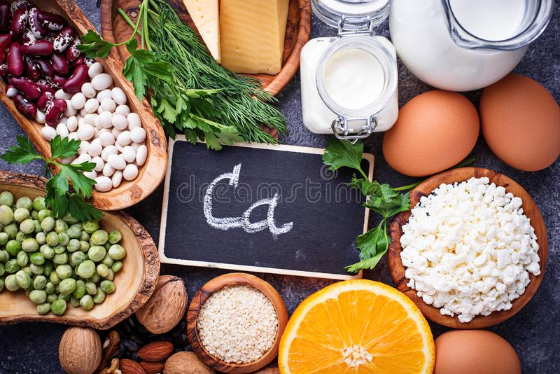 Set of food that is rich in calcium. royalty free stock photo