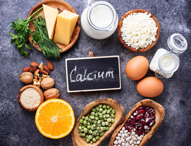 Set of food that is rich in calcium. Top view royalty free stock photo