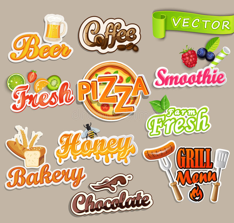 Set of food stickers. stock illustration