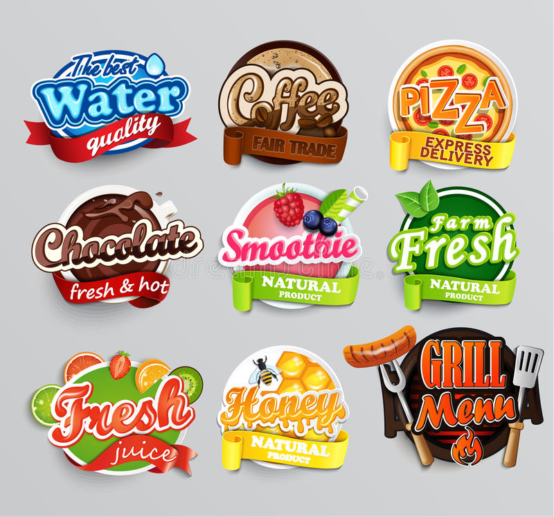 Set of food stickers. Vector. stock illustration