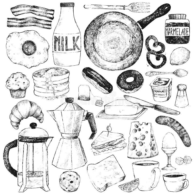 Set food and tableware for breakfast. vector illustration