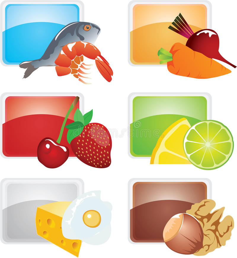 Set of food - vector icons stock illustration