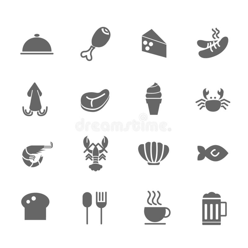 Set of Food Vector Icons. Includes seafood, chicken, meat, sausage and more. Set of Food Vector Icons. Includes seafood, chicken, meat, sausage stock illustration