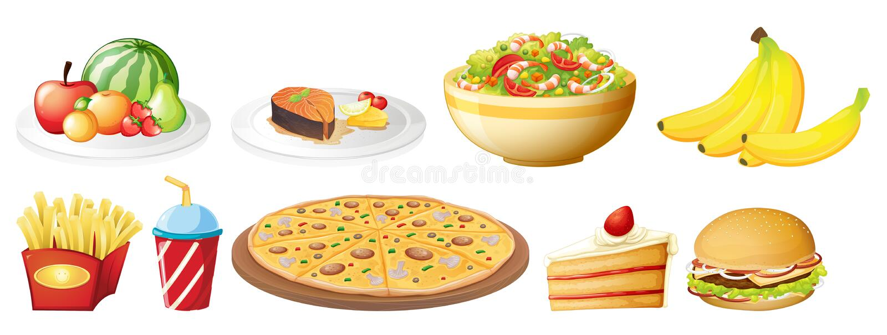 A set of food on white background stock illustration