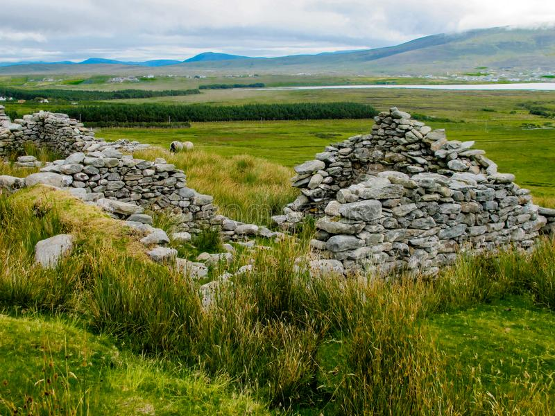 The deserted village at Slievemore, Achill, Mayo, Ireland royalty free stock image
