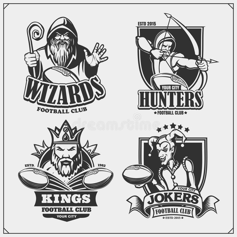 Set of football emblems, badges, logos and labels with hunter, wizard, king and joker. Print design for t-shirts. vector illustration