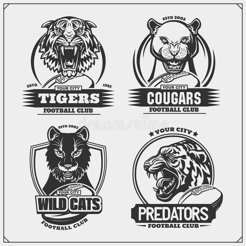Set of football emblems, badges, logos and labels with tiger, cougars and wildcat. Print design for t-shirt. royalty free illustration