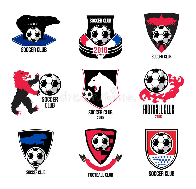Set of football logos and badges. vector illustration