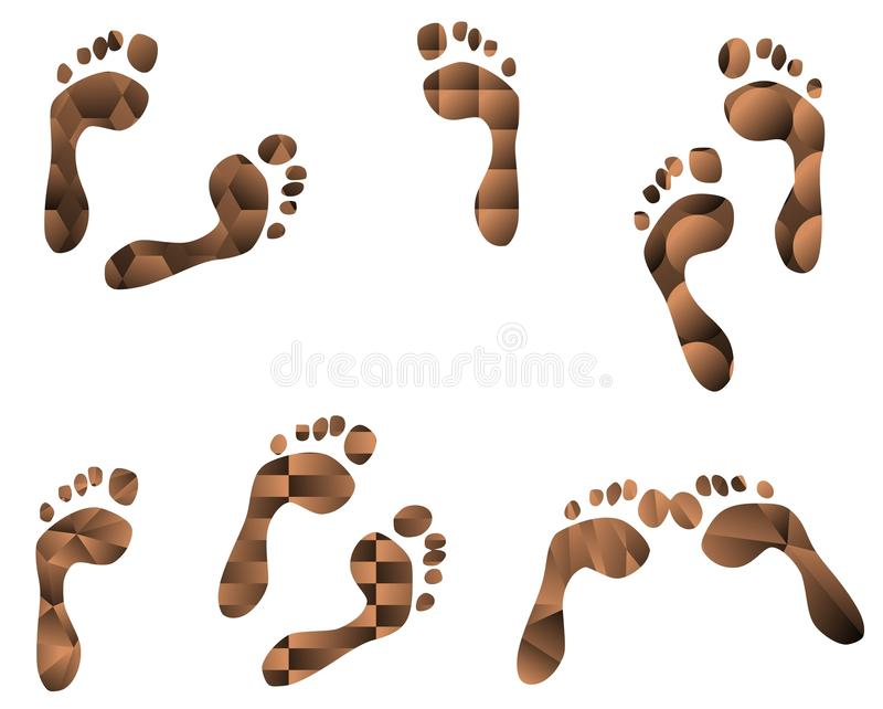 Set of footprints with different patterns royalty free illustration