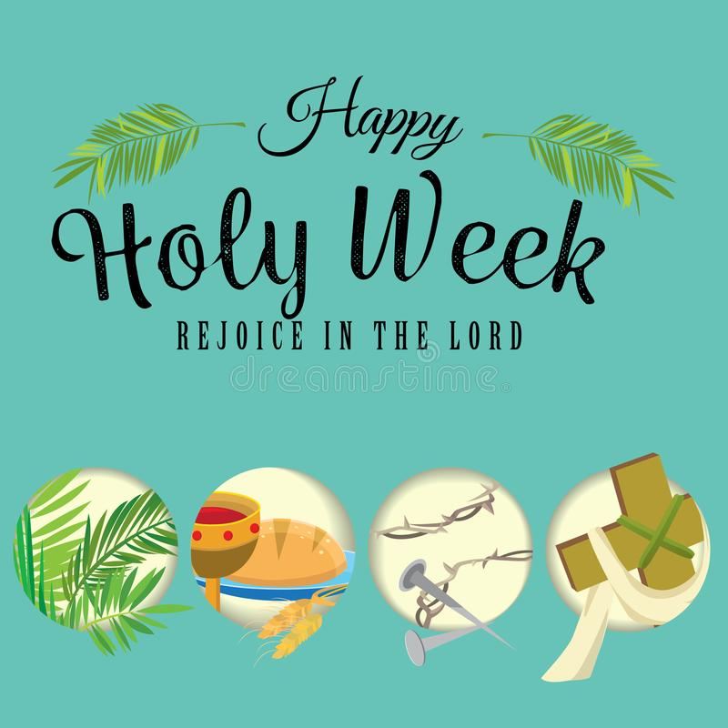 Free Set For Christianity Holy Week Before Easter, Lent And Palm Or Passion Sunday, Good Friday Crucifixion Of Jesus And His Stock Image - 112190841