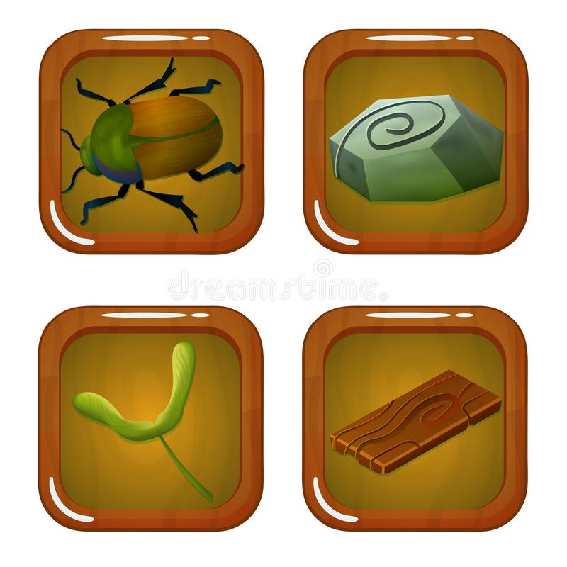 Set of Forest Icons with Beetle, Wood, Stone and Leaf vector illustration