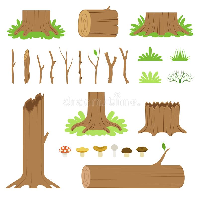 Set of forest tree stumps, logs, sticks, branches, grasses and mushrooms. Vector illustration. Set of forest tree stumps, logs, sticks, branches, grasses and royalty free illustration