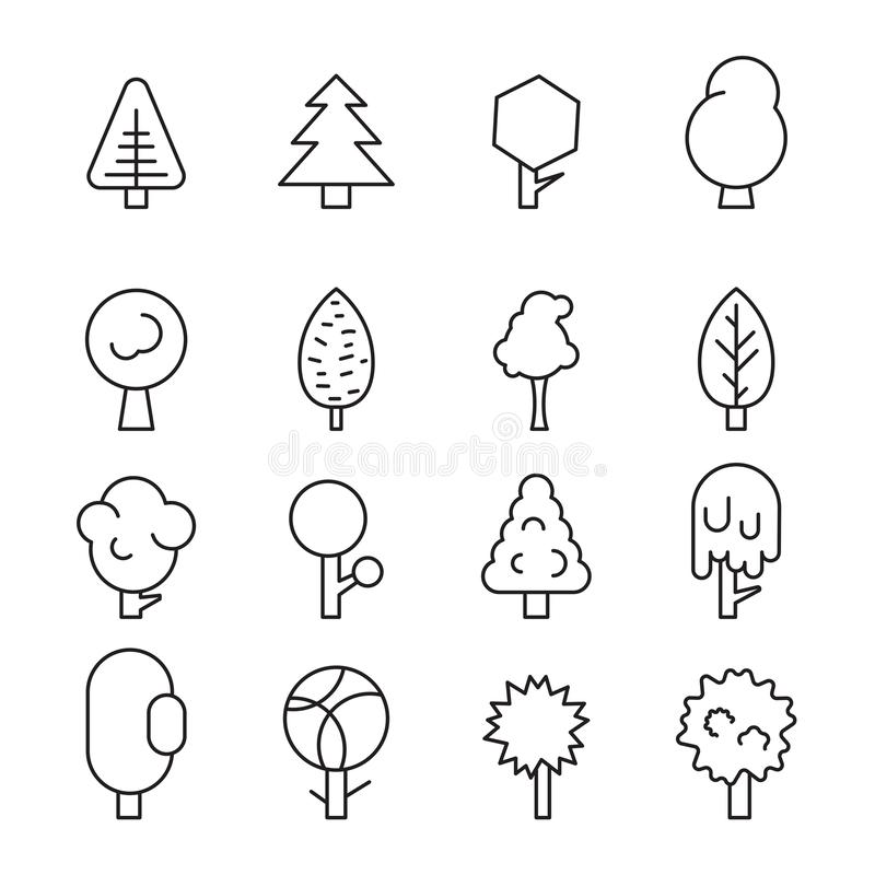 Set forest trees, evergreens coniferous trees and pine on white background stock illustration