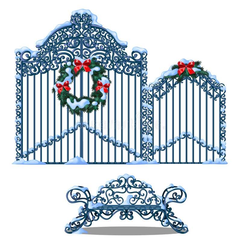 Set forged metali elementy ogrodzenie i brama zakrywający z śnieżnym i dekorujący z wiankiem jedlinowe gałąź z czerwienią ilustracja wektor
