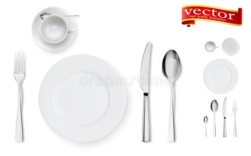 Set of fork, knife, cup, plate and spoons isolated on white royalty free illustration