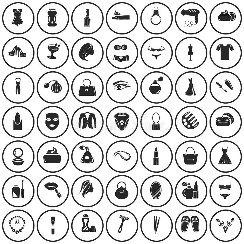 Set of forty nine beauty icons vector illustration