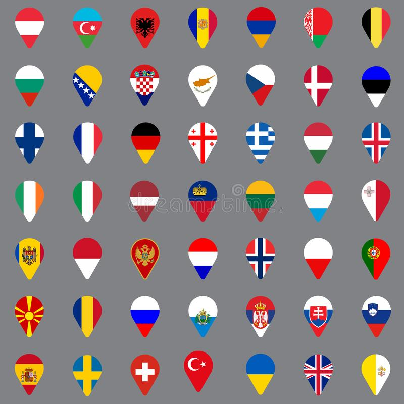 Set of forty nine geolocation icons. Flags of all European countries in the form of geolocation icons. Geotag icons for your web stock illustration